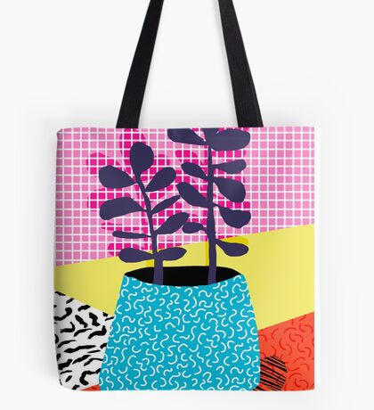 Shibby - neon 80's throwback potted plant indoor garden pink yellow red grid memphis los angeles palm springs resort hipster Tote Bag