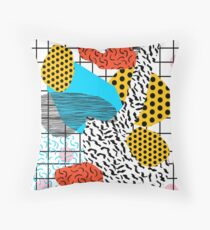 Wig Out - memphis style shapes retro pop art pattern dots stripes squiggles 1980's 80s 80's style grid Throw Pillow