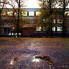 schoolyard. twilight by Nikolay Semyonov