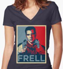 crichton propaganda Women's Fitted V-Neck T-Shirt