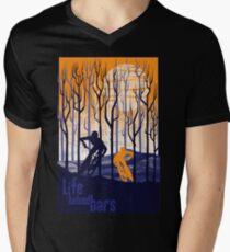 Camiseta de cuello en V Ilustración retro de cartel de bicicleta de montaña