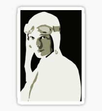 Amelia Earhart grayscale vector art Sticker