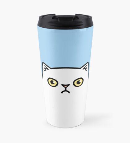 Angry White Persian Kitty Cat Travel Mug