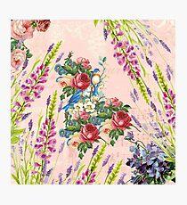 Vintage chic pink blue birds floral pattern Photographic Print