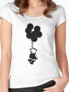 Flying Balloon Bear Women's Fitted Scoop T-Shirt