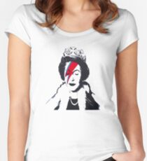 God Save The Queen Stencil Women's Fitted Scoop T-Shirt