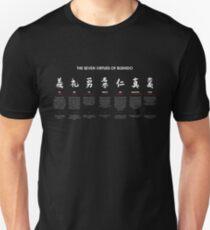 Die 7 Tugenden von Bushido (weißer Text) Unisex T-Shirt