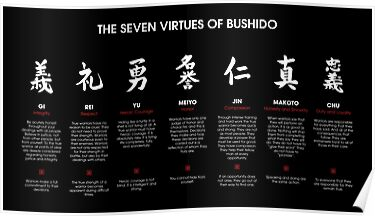 Quot The 7 Virtues Of Bushido White Text Quot Posters By Dcornel