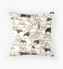 sheep flock, black and white Throw Pillow