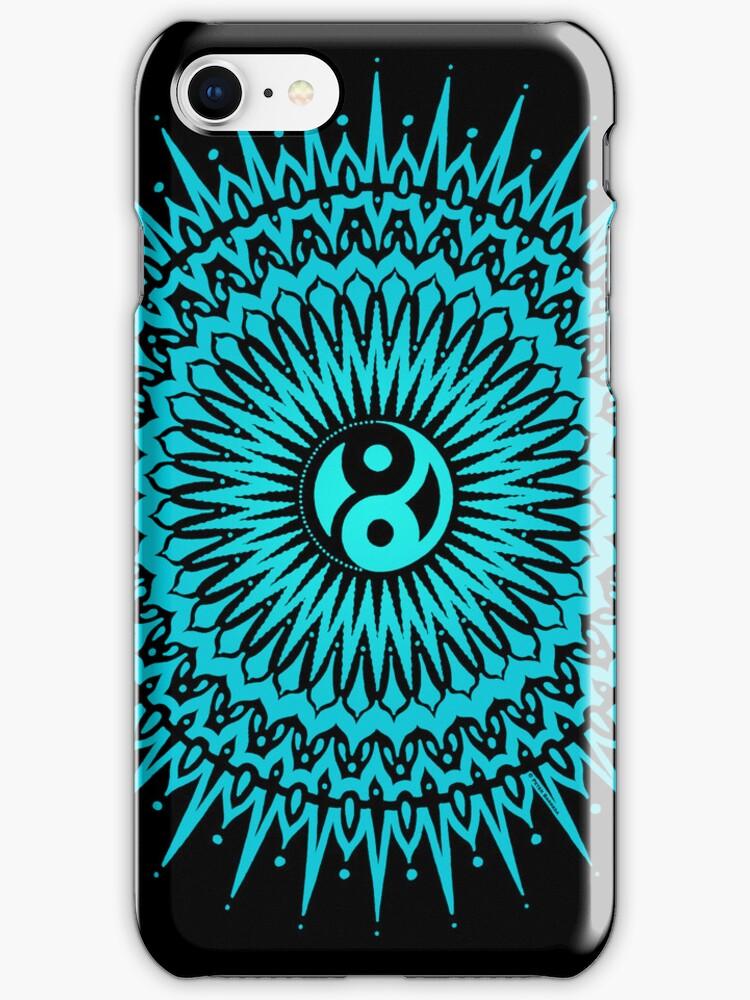 taizha yin yang mandala blue iPhone cover by peter barreda