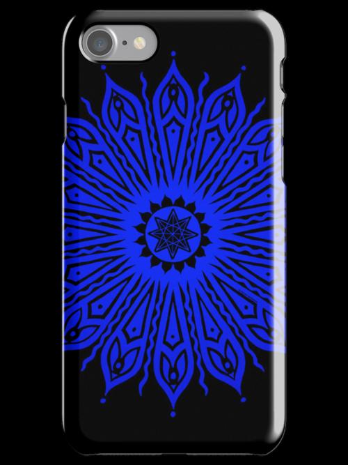 ozorahmi blue mandala iPhone case by peter barreda