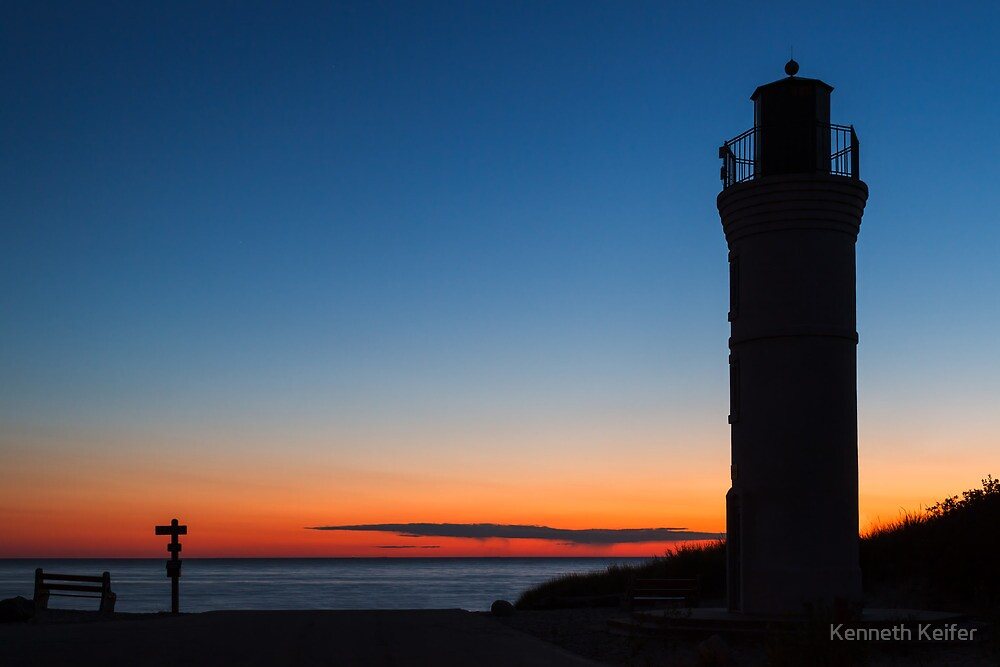 Sunset Lighthouse - Empire, Michigan by Kenneth Keifer