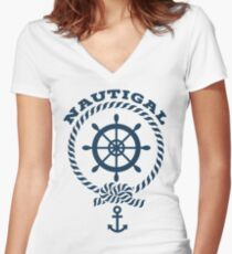 Nautigal Nautical T Shirt Women's Fitted V-Neck T-Shirt