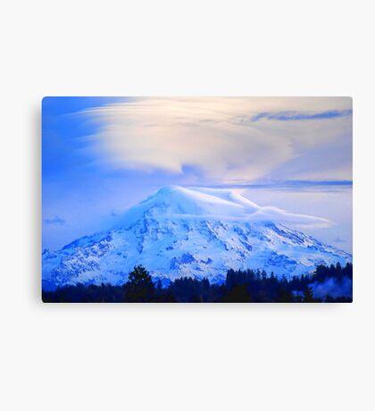 Lenticular Clouds Over Rainier Canvas Print