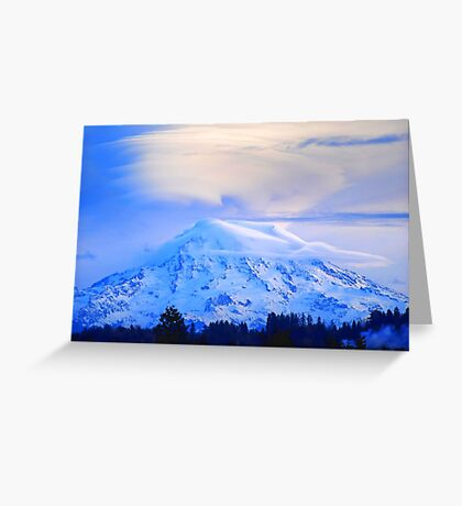Lenticular Clouds Over Rainier Greeting Card