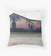 'Lawgi Hall' with colourful Mural, Biloela. Queensland. Aust. Throw Pillow