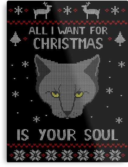 all i want for christmas is your soul ugly christmas sweater by fandomizedrose - Black Metal Christmas Sweater