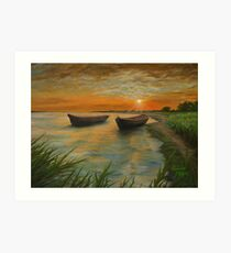 Boats on a Lake Painting Art Print