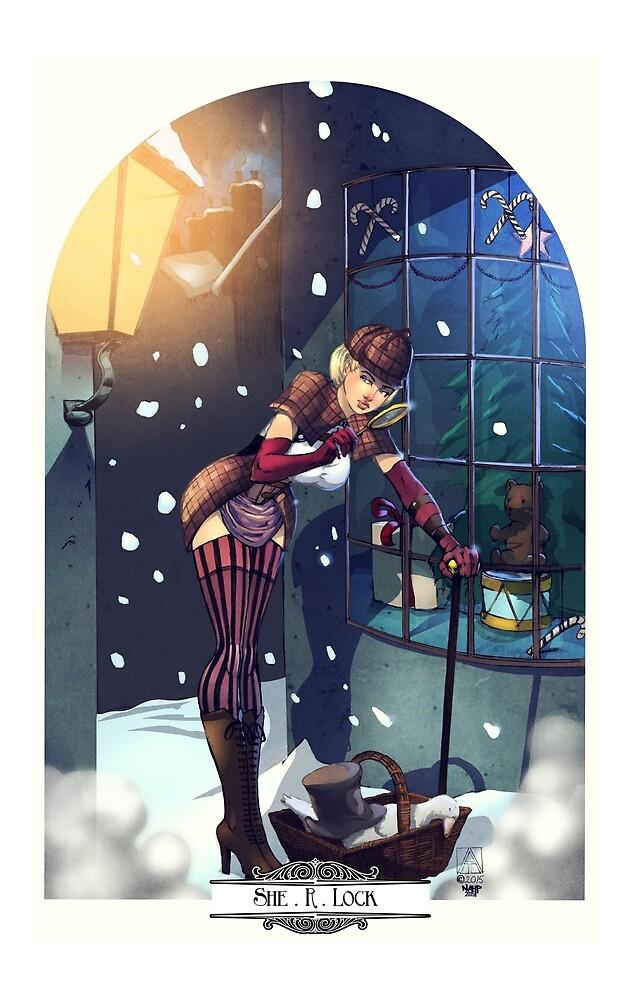 Sherlock Steampunk Christmas Illustration - She. R. Lock and the Adventure of the Blue Carbuncle by artofadamlumb