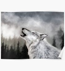 Winter Wolf Digital Painting Poster