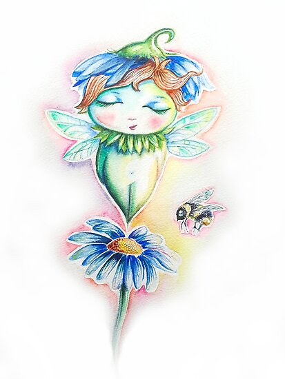 Flower Fairy Watercolor  by Willow Heath