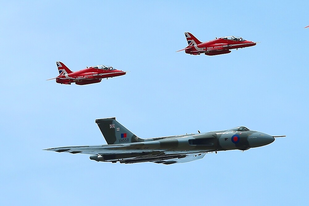 Red Arrows join the Vulcan by Mark Kerton