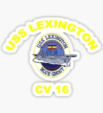 USS Lexington CV 16 Crest for Dark Colors Sticker