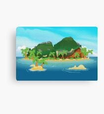 Tropical Island Oil Painting Canvas Print