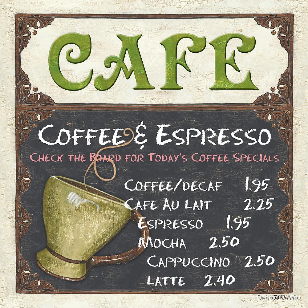 Elegant Cafe Chalkboard by Debbie DeWitt