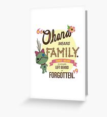Ohana - Lilo and Stitch Quote Greeting Card