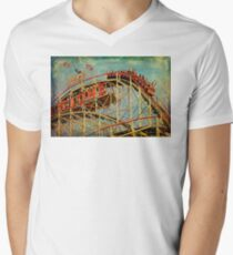 Riding The Famous Cyclone Roller Coaster Men's V-Neck T-Shirt