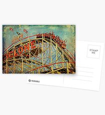 Riding The Famous Cyclone Roller Coaster Postcards