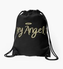 angel wings black Drawstring Bag