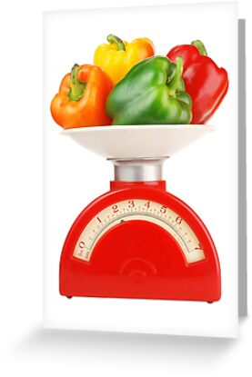peppers on scale by Jim  Hughes