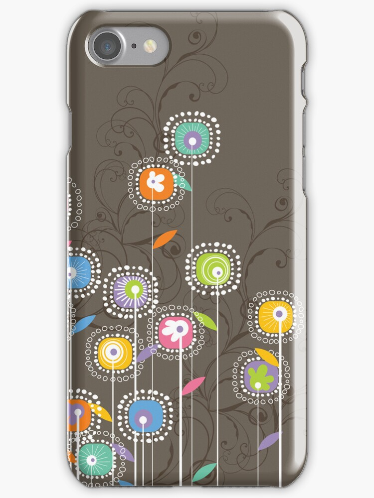 Colorful Abstract Retro Flowers, Brown Background by artonwear