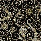 Elegant Black Gold And Diamonds Retro Floral DesignWith Bling by artonwear