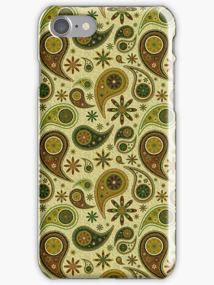 Pastel Brown ANd Beige Tones Retro Paisley Pattern by artonwear