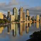 Brisbane City And River At Sunrise. Queensland, Australia by Ralph de Zilva