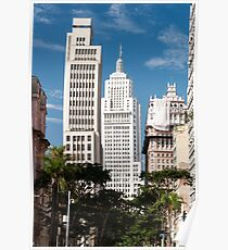 Banespa and Martinelli Building in downtown sao paulo. Poster