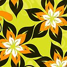 Retro flowers yellow, white and black colors design by artonwear