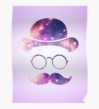 Retro Face with Moustache & Glasses / Universe  Poster