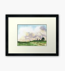 LANDSCAPE WITH FARMS Framed Print