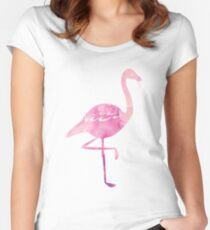 Watercolour Pink Flamingo Pattern Fitted Scoop T-Shirt