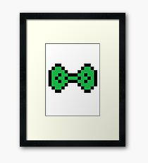 Green Pixel Bow Framed Print