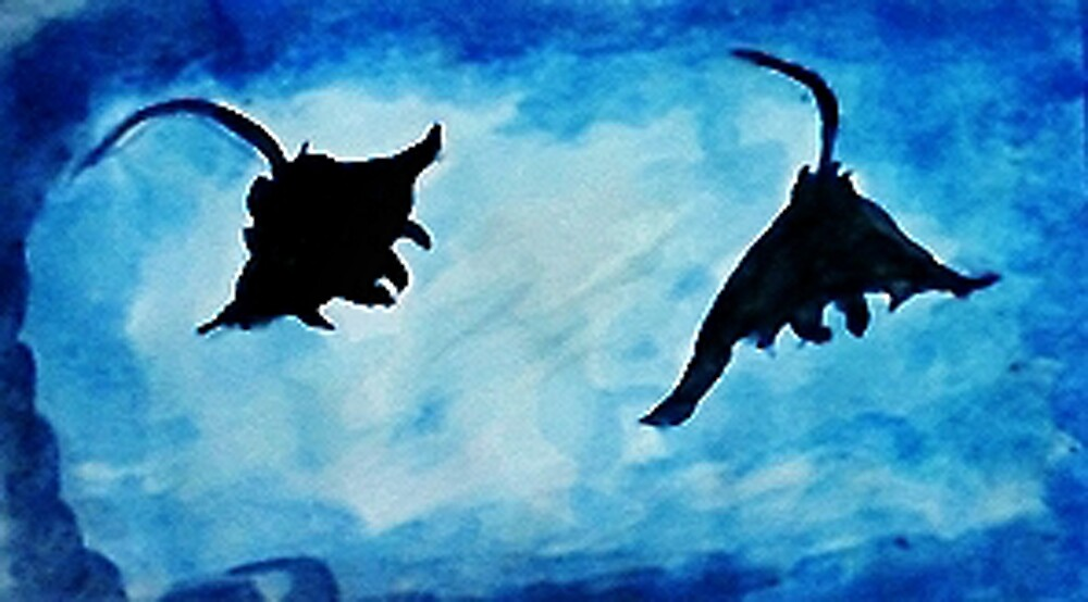 Giant Manta Rays, watercolor by Anna  Lewis, blind artist