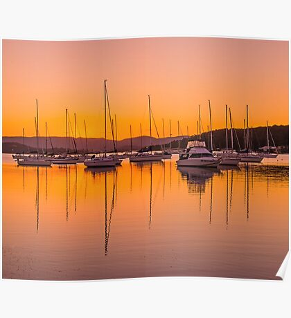 Masts at Sunset Poster