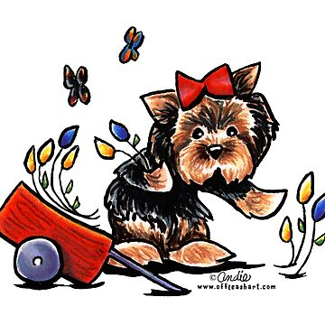 Yorkie in the Garden by offleashart