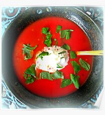 Tomato soup with cream and basil Poster