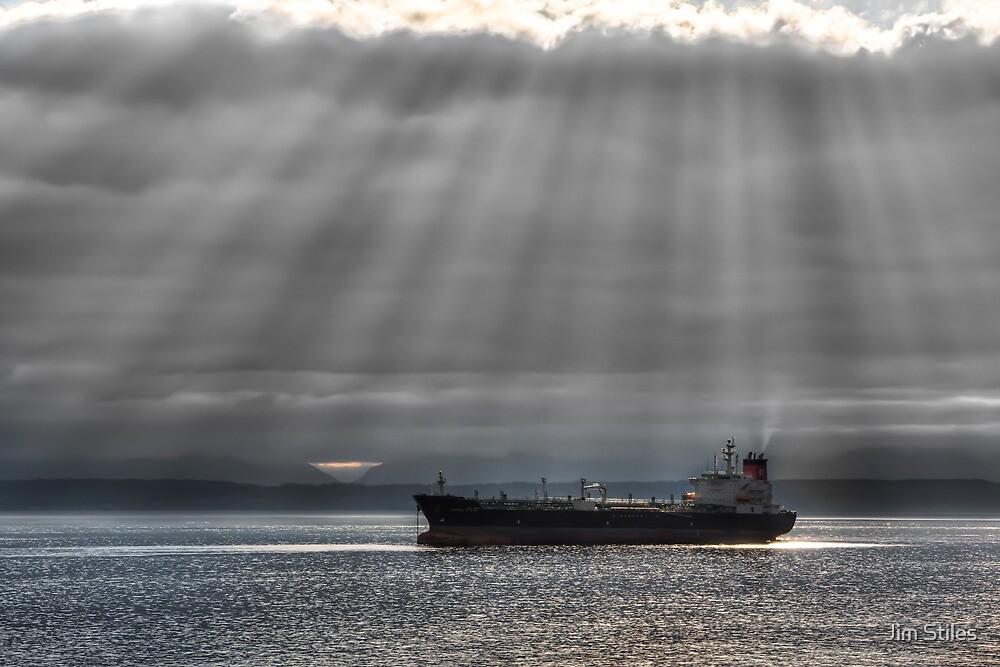Sun Rays over Elliott Bay by Jim Stiles