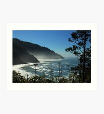 Misty Coast at Heceta Head Art Print